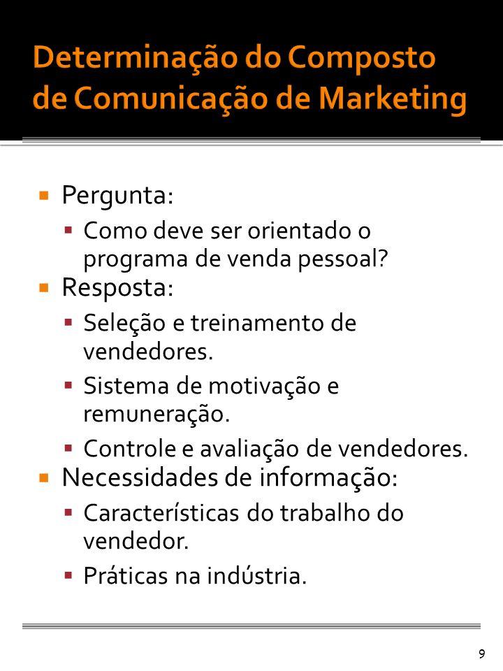 Pergunta: Como deve ser orientado o programa de venda pessoal? Resposta: Seleção e treinamento de vendedores. Sistema de motivação e remuneração. Cont