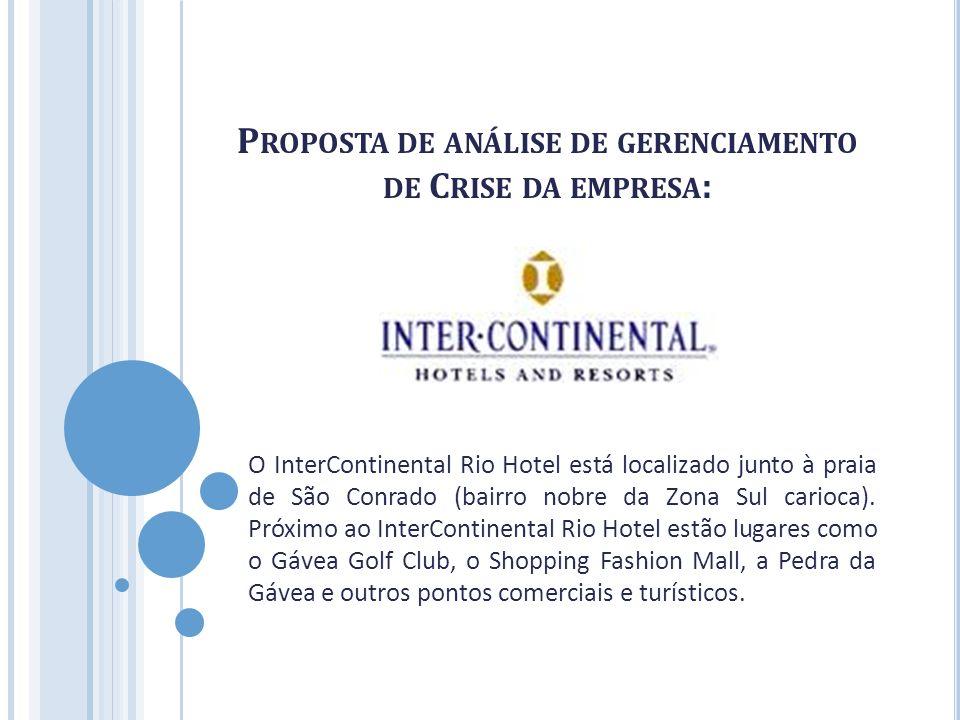 P ROPOSTA DE ANÁLISE DE GERENCIAMENTO DE C RISE DA EMPRESA : O InterContinental Rio Hotel está localizado junto à praia de São Conrado (bairro nobre d
