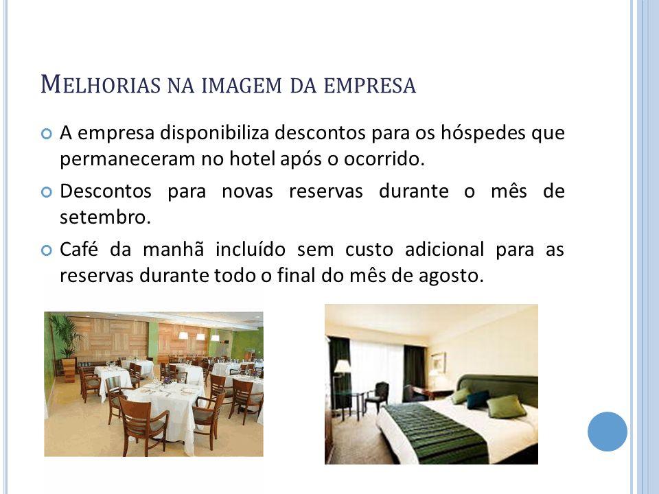 M ELHORIAS NA IMAGEM DA EMPRESA A empresa disponibiliza descontos para os hóspedes que permaneceram no hotel após o ocorrido. Descontos para novas res