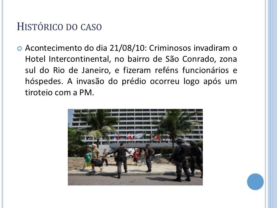 H ISTÓRICO DO CASO Acontecimento do dia 21/08/10: Criminosos invadiram o Hotel Intercontinental, no bairro de São Conrado, zona sul do Rio de Janeiro,
