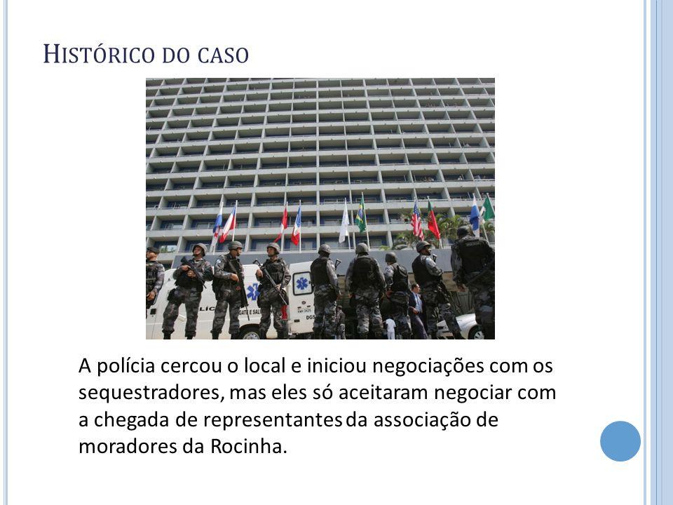 H ISTÓRICO DO CASO A polícia cercou o local e iniciou negociações com os sequestradores, mas eles só aceitaram negociar com a chegada de representante