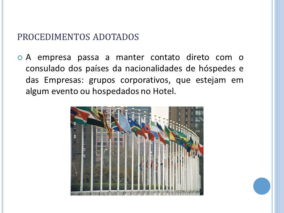 PROCEDIMENTOS ADOTADOS A empresa passa a manter contato direto com o consulado dos países da nacionalidades de hóspedes e das Empresas: grupos corpora