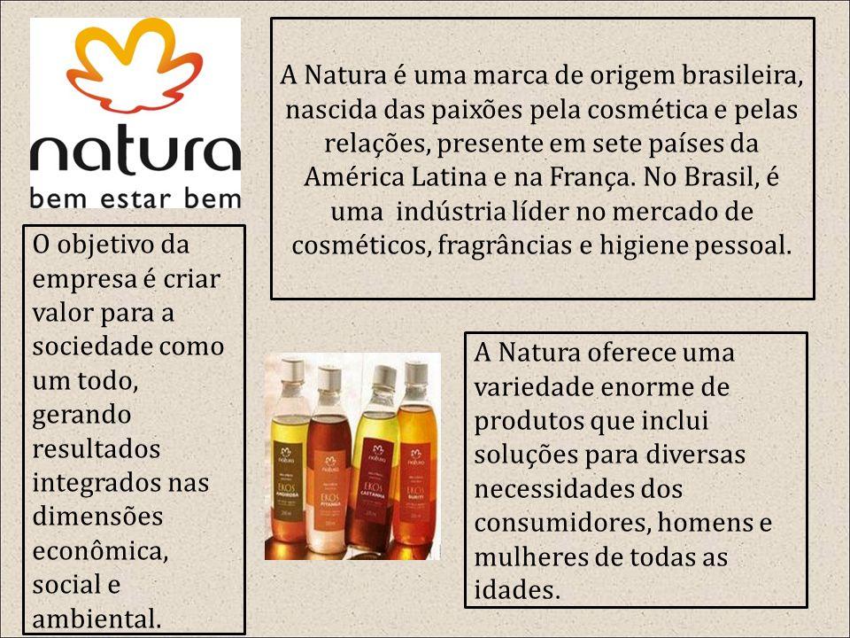 A Natura é uma marca de origem brasileira, nascida das paixões pela cosmética e pelas relações, presente em sete países da América Latina e na França.