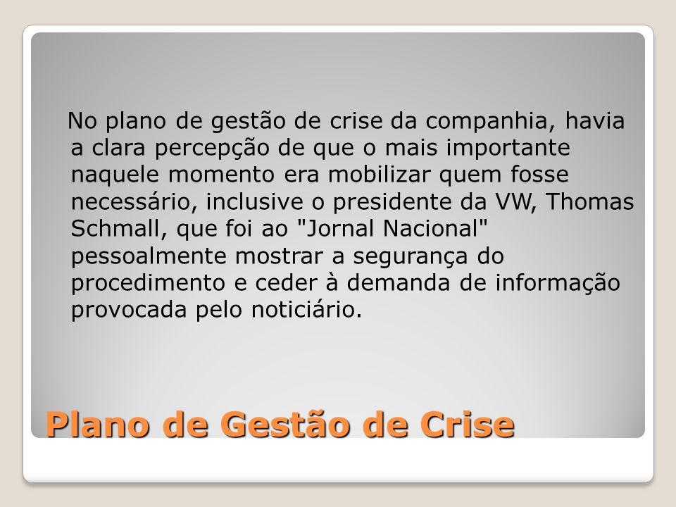 Plano de Gestão de Crise No plano de gestão de crise da companhia, havia a clara percepção de que o mais importante naquele momento era mobilizar quem