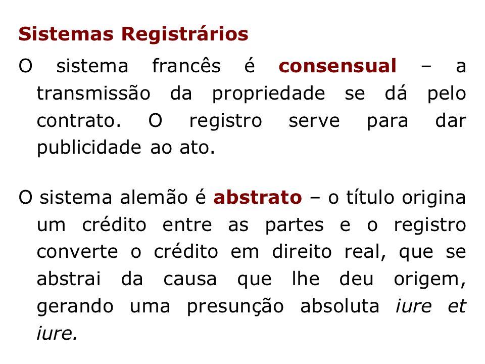 Sistemas Registrários O sistema francês é consensual – a transmissão da propriedade se dá pelo contrato.
