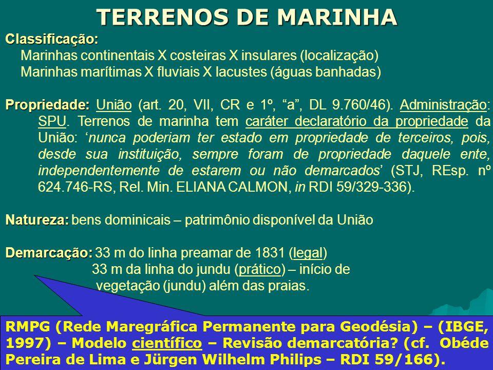 Classificação: Marinhas continentais X costeiras X insulares (localização) Marinhas marítimas X fluviais X lacustes (águas banhadas) Propriedade: Propriedade: União (art.