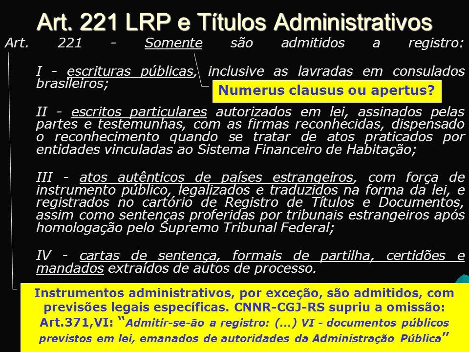 Art.221 LRP e Títulos Administrativos Art.
