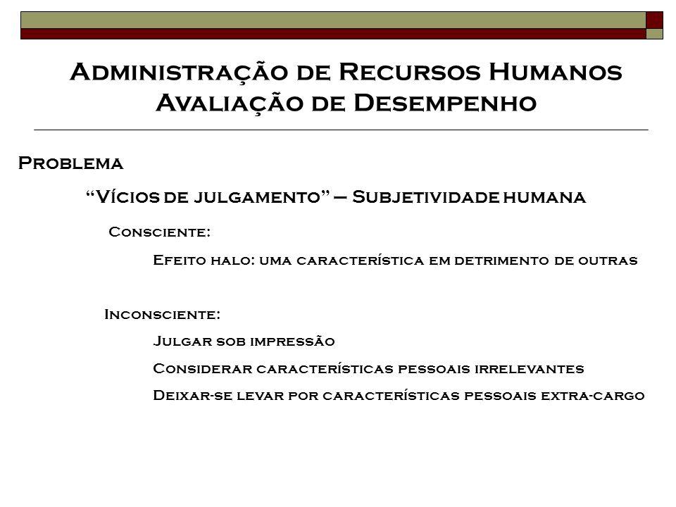 Administração de Recursos Humanos Avaliação de Desempenho Problema Vícios de julgamento – Subjetividade humana Consciente: Efeito halo: uma caracterís