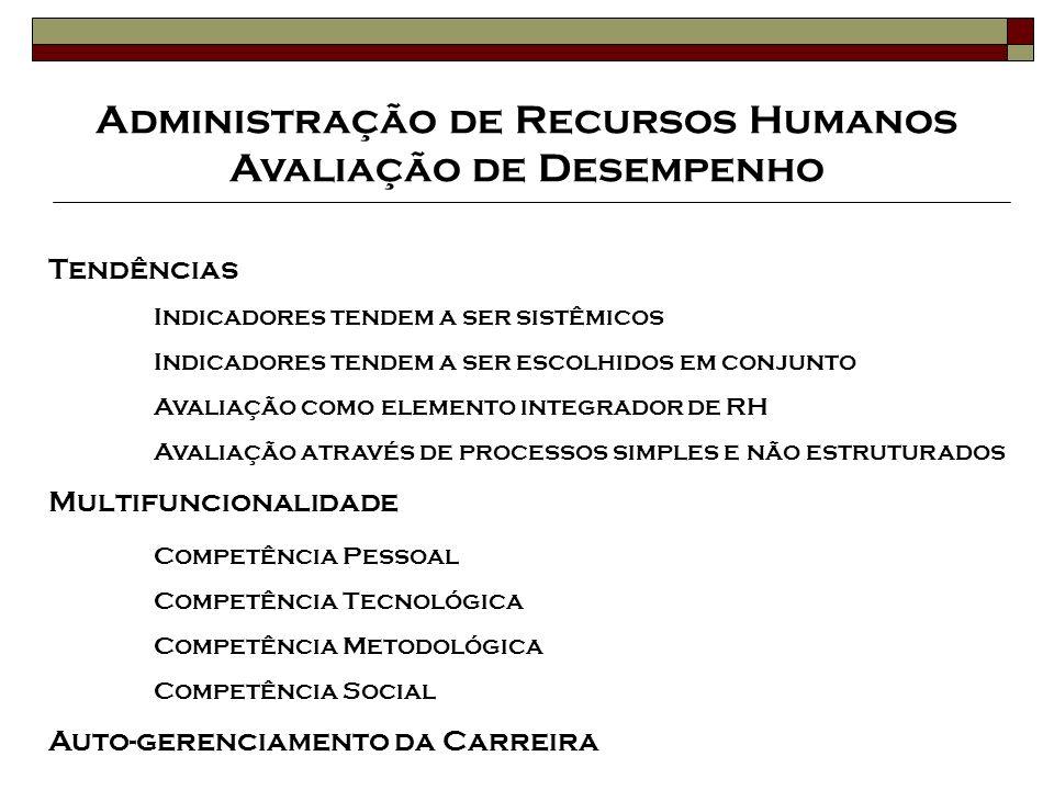 Administração de Recursos Humanos Avaliação de Desempenho Tendências Indicadores tendem a ser sistêmicos Indicadores tendem a ser escolhidos em conjun