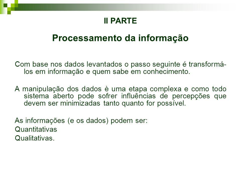 II PARTE Processamento da informação Com base nos dados levantados o passo seguinte é transformá- los em informação e quem sabe em conhecimento. A man