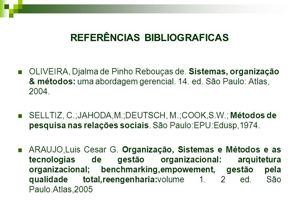 REFERÊNCIAS BIBLIOGRAFICAS OLIVEIRA, Djalma de Pinho Rebouças de. Sistemas, organização & métodos: uma abordagem gerencial. 14. ed. São Paulo: Atlas,