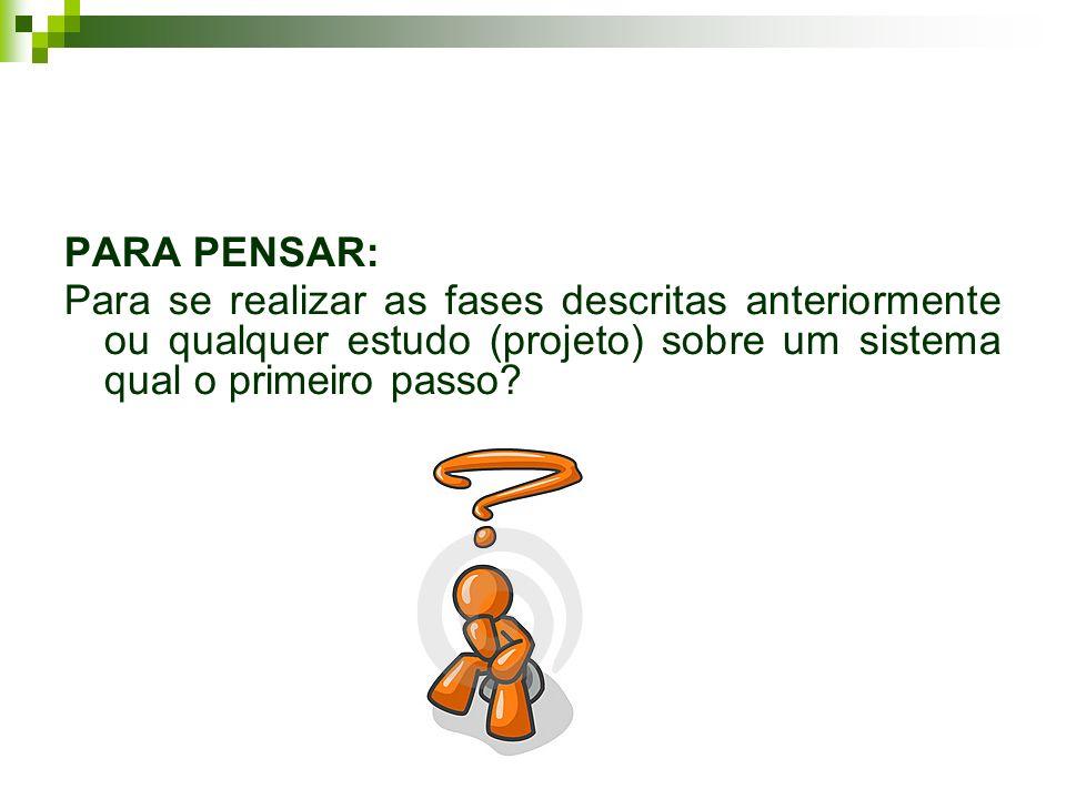 PARA PENSAR: Para se realizar as fases descritas anteriormente ou qualquer estudo (projeto) sobre um sistema qual o primeiro passo?