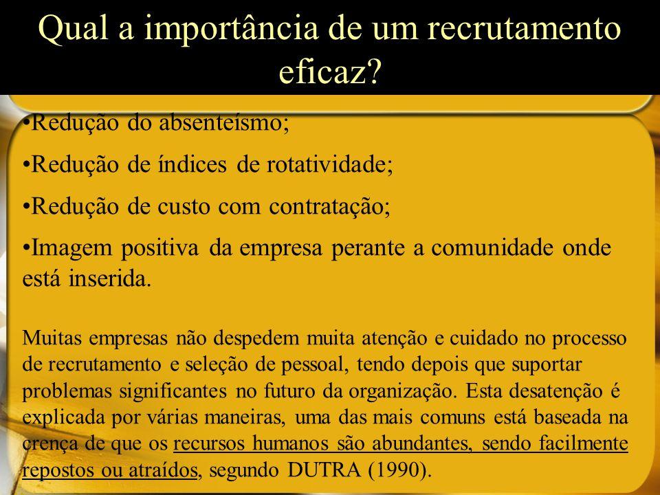 Qual a importância de um recrutamento eficaz? Redução do absenteísmo; Redução de índices de rotatividade; Redução de custo com contratação; Imagem pos
