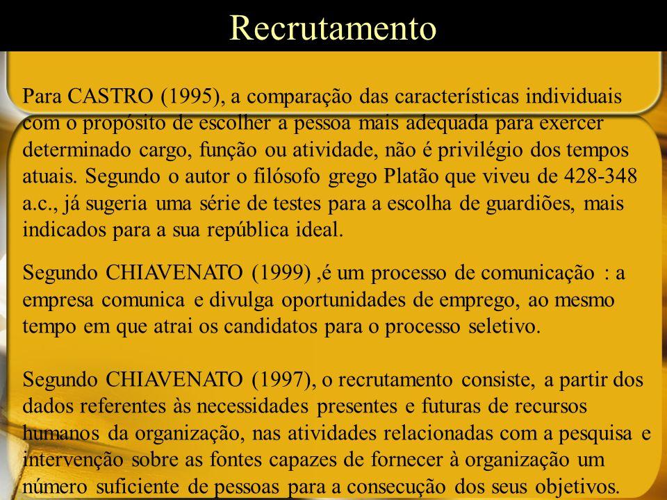 Tipos de recrutamento Recrutamento interno Na visão de CASTRO (1995), o recrutamento interno é utilizado para preenchimento de vagas, através de remanejamento dos quadros existentes na organização.