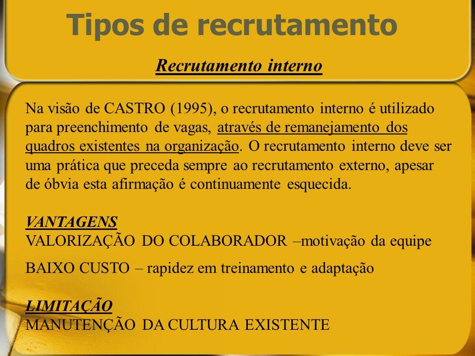 Tipos de recrutamento Recrutamento interno Na visão de CASTRO (1995), o recrutamento interno é utilizado para preenchimento de vagas, através de reman