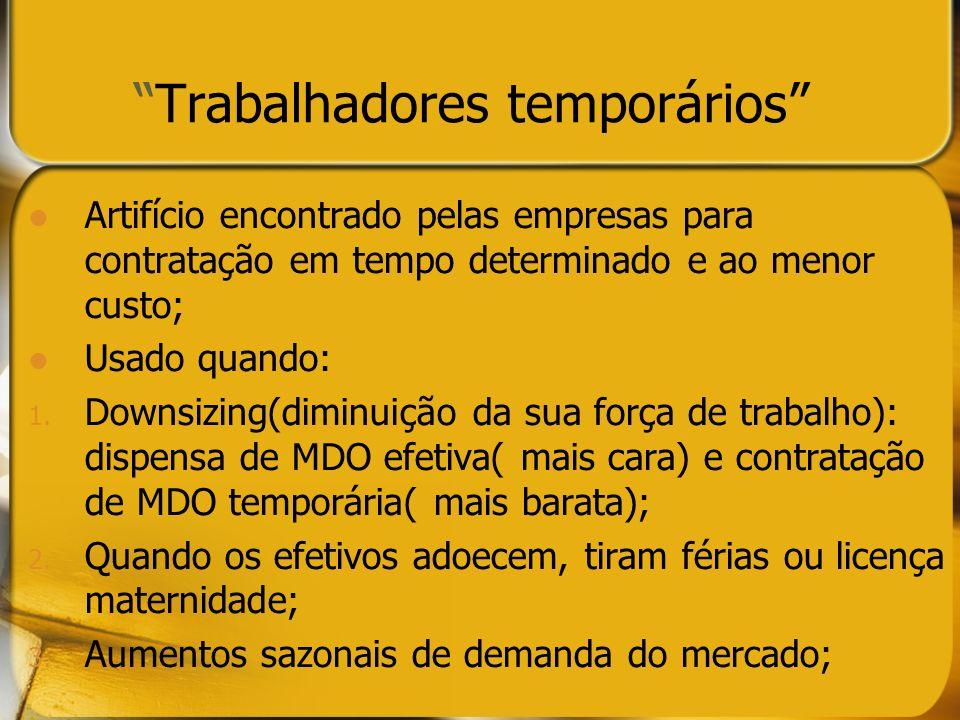 Trabalhadores temporários Artifício encontrado pelas empresas para contratação em tempo determinado e ao menor custo; Usado quando: 1. Downsizing(dimi