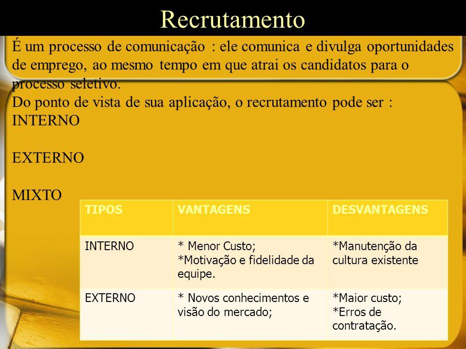 É um processo de comunicação : ele comunica e divulga oportunidades de emprego, ao mesmo tempo em que atrai os candidatos para o processo seletivo. Do