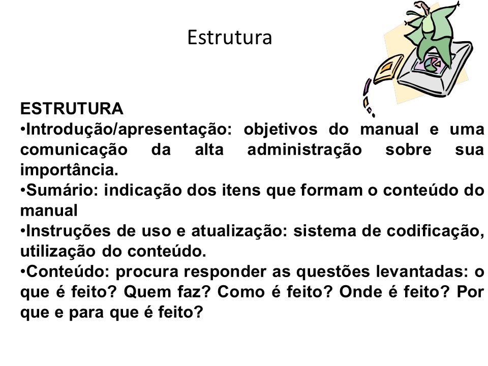 Estrutura ESTRUTURA Introdução/apresentação: objetivos do manual e uma comunicação da alta administração sobre sua importância. Sumário: indicação dos