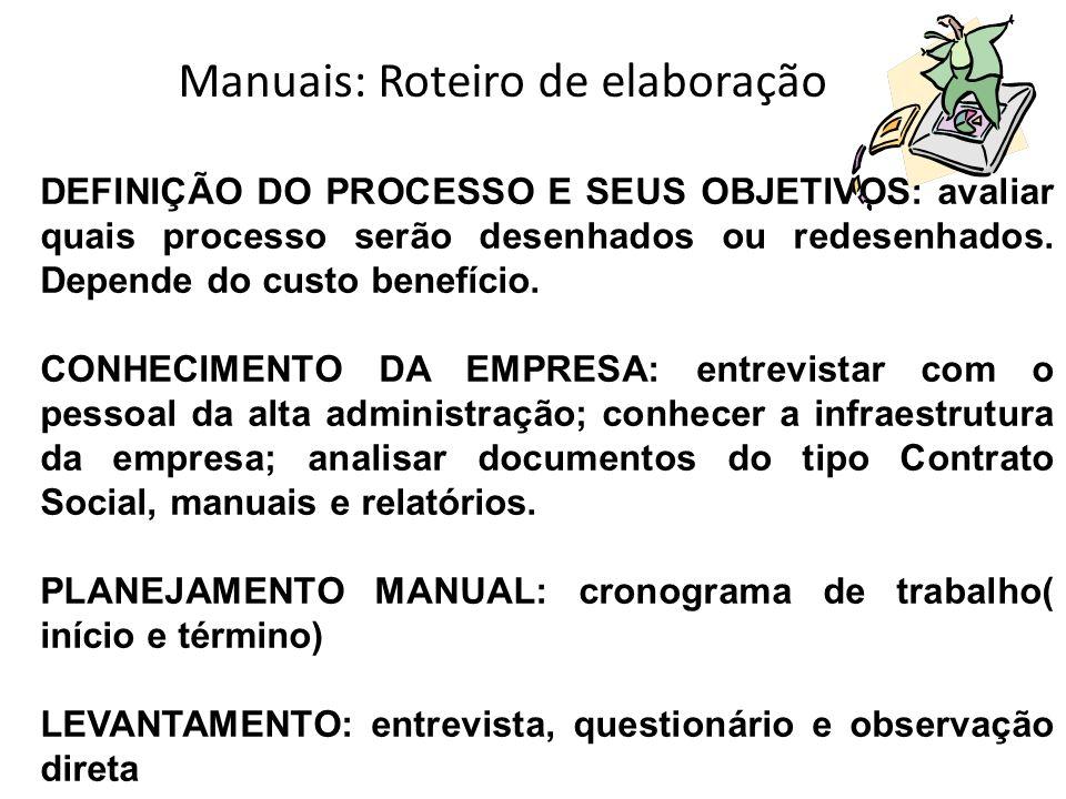 Manuais: Roteiro de elaboração DEFINIÇÃO DO PROCESSO E SEUS OBJETIVOS: avaliar quais processo serão desenhados ou redesenhados. Depende do custo benef