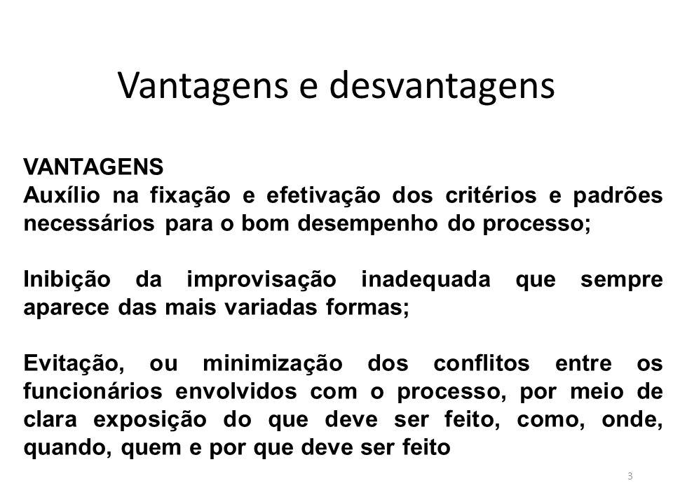 Vantagens e desvantagens 3 VANTAGENS Auxílio na fixação e efetivação dos critérios e padrões necessários para o bom desempenho do processo; Inibição d