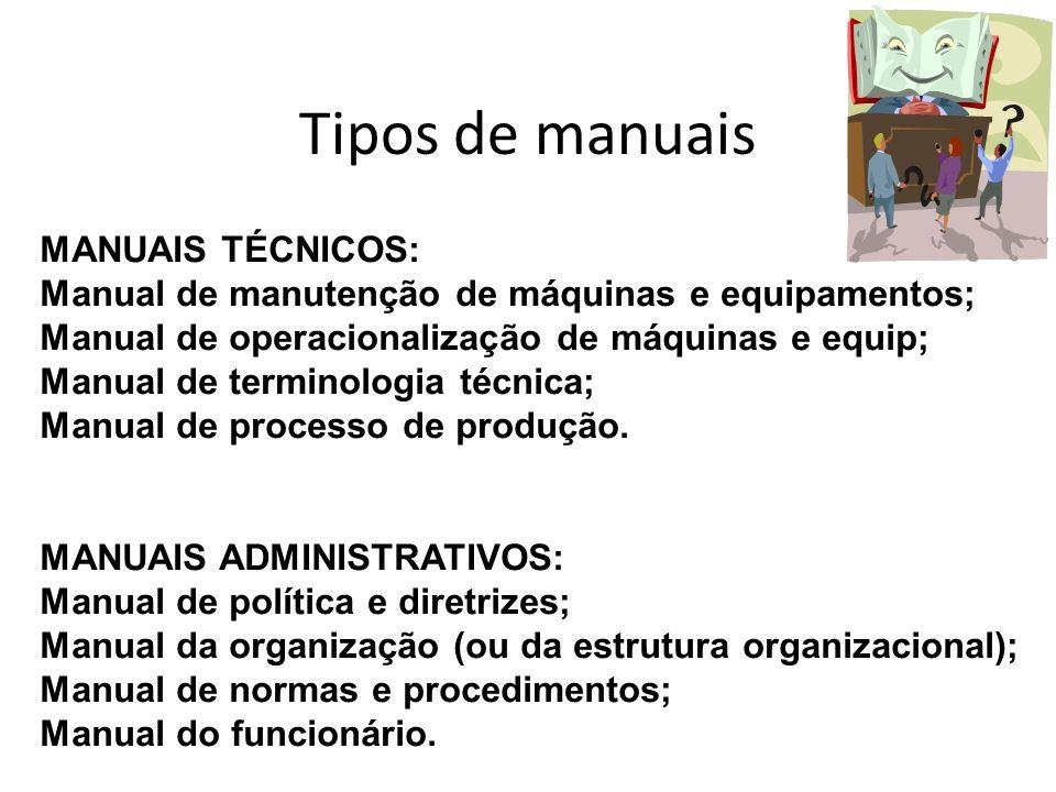 Tipos de manuais MANUAIS TÉCNICOS: Manual de manutenção de máquinas e equipamentos; Manual de operacionalização de máquinas e equip; Manual de termino