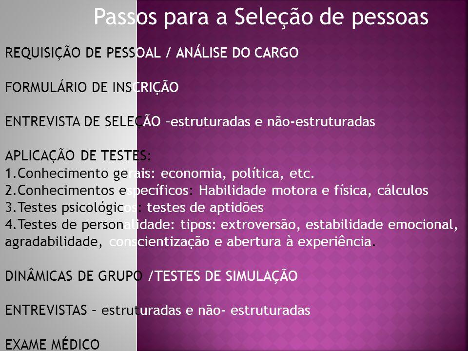 Passos para a Seleção de pessoas REQUISIÇÃO DE PESSOAL / ANÁLISE DO CARGO FORMULÁRIO DE INSCRIÇÃO ENTREVISTA DE SELEÇÃO –estruturadas e não-estruturad