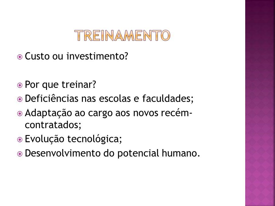 Custo ou investimento? Por que treinar? Deficiências nas escolas e faculdades; Adaptação ao cargo aos novos recém- contratados; Evolução tecnológica;
