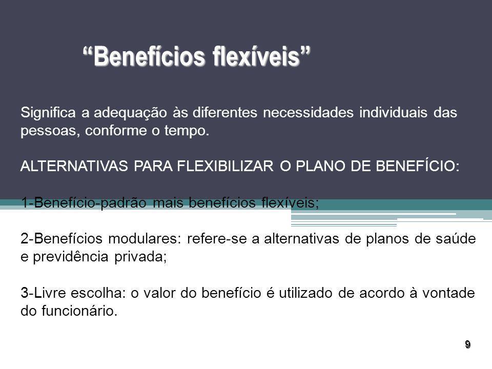 9 Benefícios flexíveis Significa a adequação às diferentes necessidades individuais das pessoas, conforme o tempo. ALTERNATIVAS PARA FLEXIBILIZAR O PL