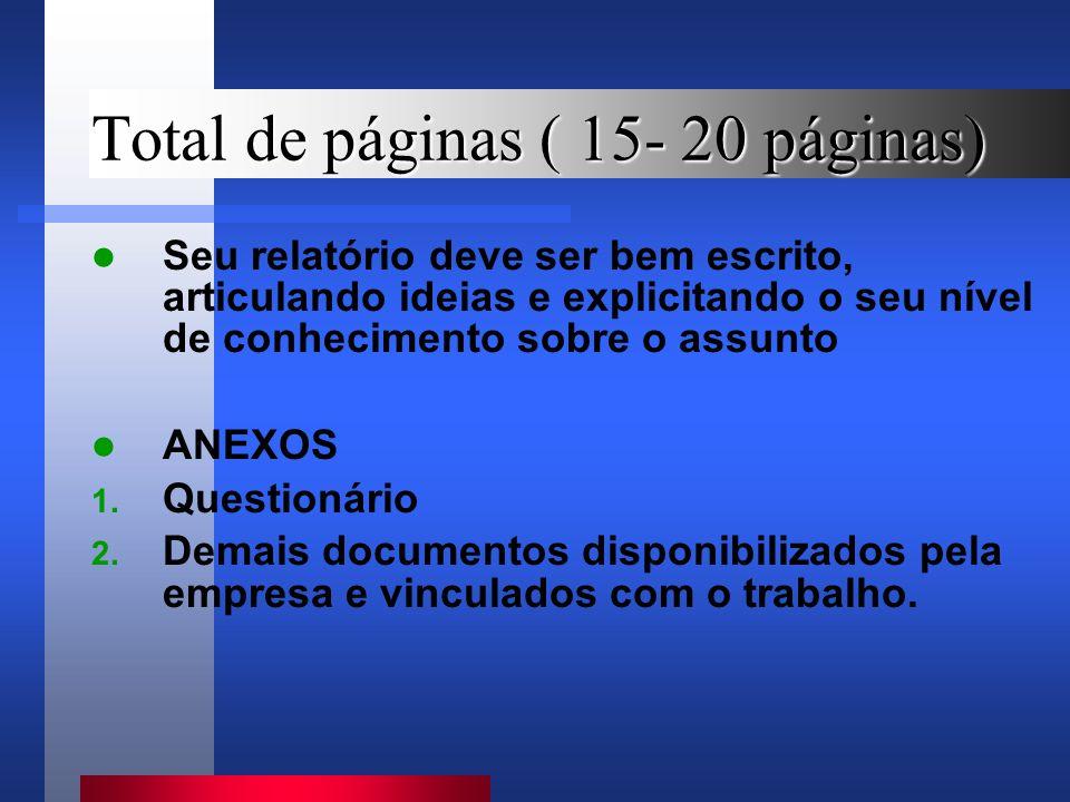 Total de páginas ( 15- 20 páginas) Seu relatório deve ser bem escrito, articulando ideias e explicitando o seu nível de conhecimento sobre o assunto ANEXOS 1.