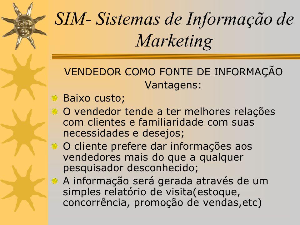 SIM- Sistemas de Informação de Marketing VENDEDOR COMO FONTE DE INFORMAÇÃO Vantagens: Baixo custo; O vendedor tende a ter melhores relações com client