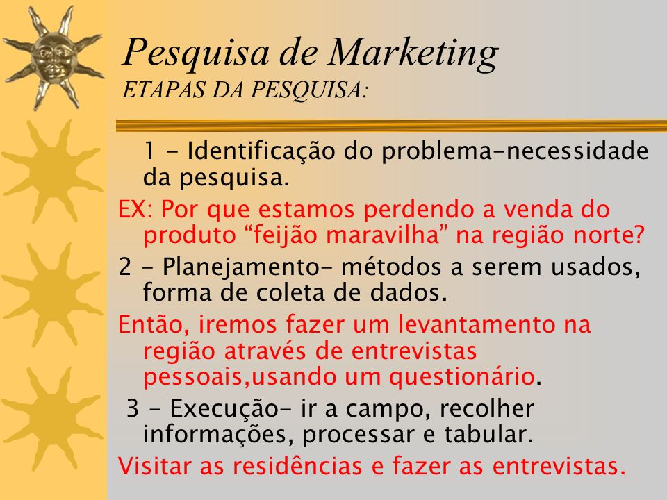Pesquisa de Marketing ETAPAS DA PESQUISA: 1 - Identificação do problema-necessidade da pesquisa. EX: Por que estamos perdendo a venda do produto feijã