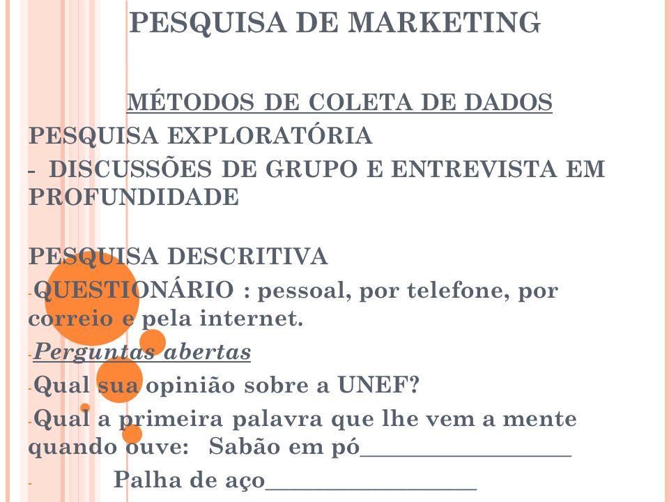 PESQUISA DE MARKETING MÉTODOS DE COLETA DE DADOS PESQUISA EXPLORATÓRIA - DISCUSSÕES DE GRUPO E ENTREVISTA EM PROFUNDIDADE PESQUISA DESCRITIVA - QUESTI