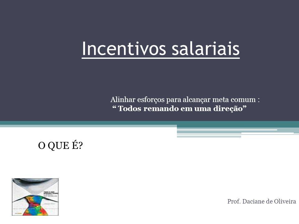 Incentivos salariais Prof. Daciane de Oliveira O QUE É? Alinhar esforços para alcançar meta comum : Todos remando em uma direção