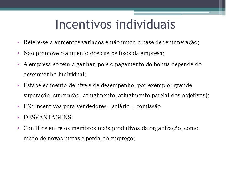 Incentivos individuais Refere-se a aumentos variados e não muda a base de remuneração; Não promove o aumento dos custos fixos da empresa; A empresa só