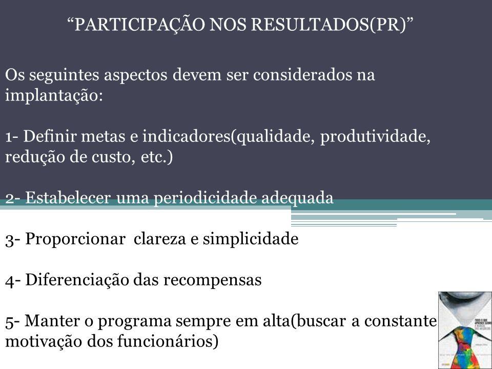 PARTICIPAÇÃO NOS RESULTADOS(PR) Os seguintes aspectos devem ser considerados na implantação: 1- Definir metas e indicadores(qualidade, produtividade,
