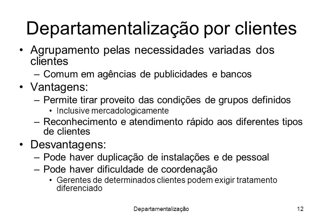 Departamentalização12 Departamentalização por clientes Agrupamento pelas necessidades variadas dos clientes –Comum em agências de publicidades e banco