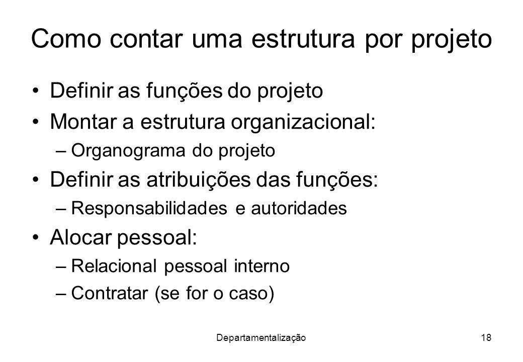 Departamentalização18 Como contar uma estrutura por projeto Definir as funções do projeto Montar a estrutura organizacional: –Organograma do projeto D