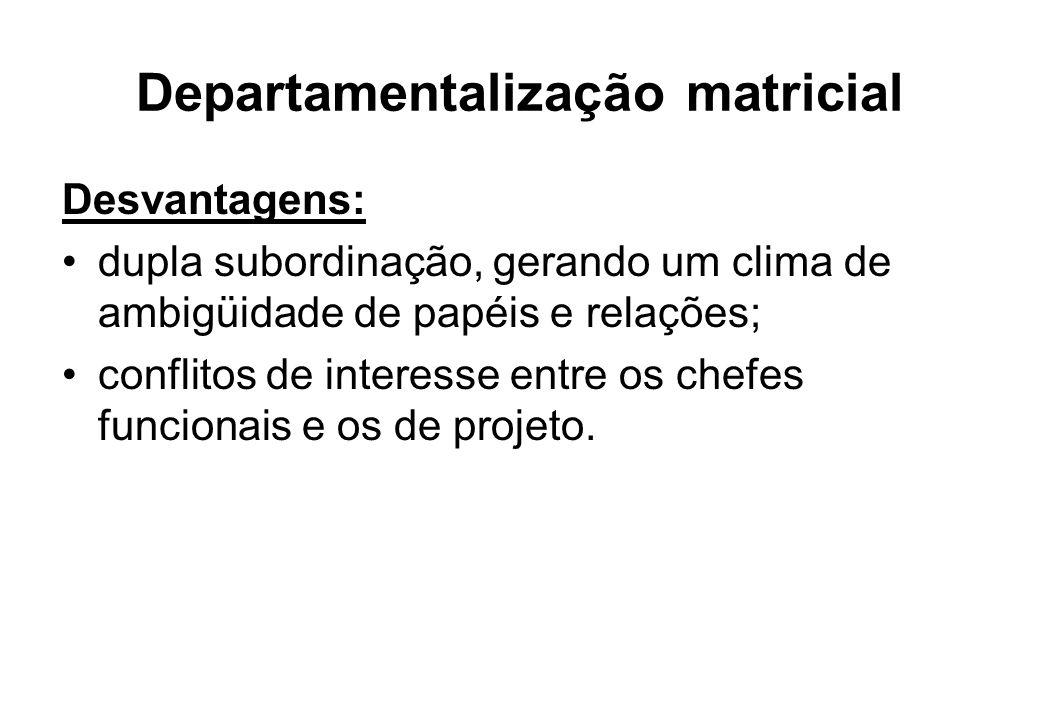 Departamentalização matricial Desvantagens: dupla subordinação, gerando um clima de ambigüidade de papéis e relações; conflitos de interesse entre os