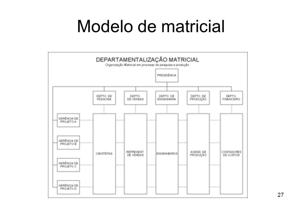 Modelo de matricial Departamentalização27