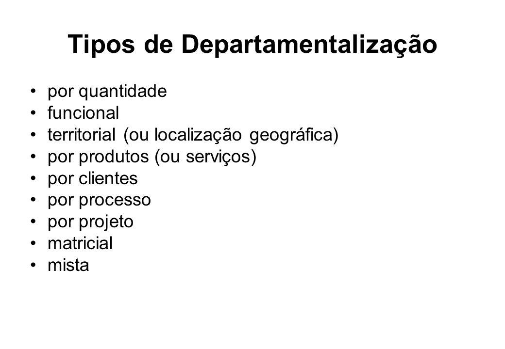 Tipos de Departamentalização por quantidade funcional territorial (ou localização geográfica) por produtos (ou serviços) por clientes por processo por