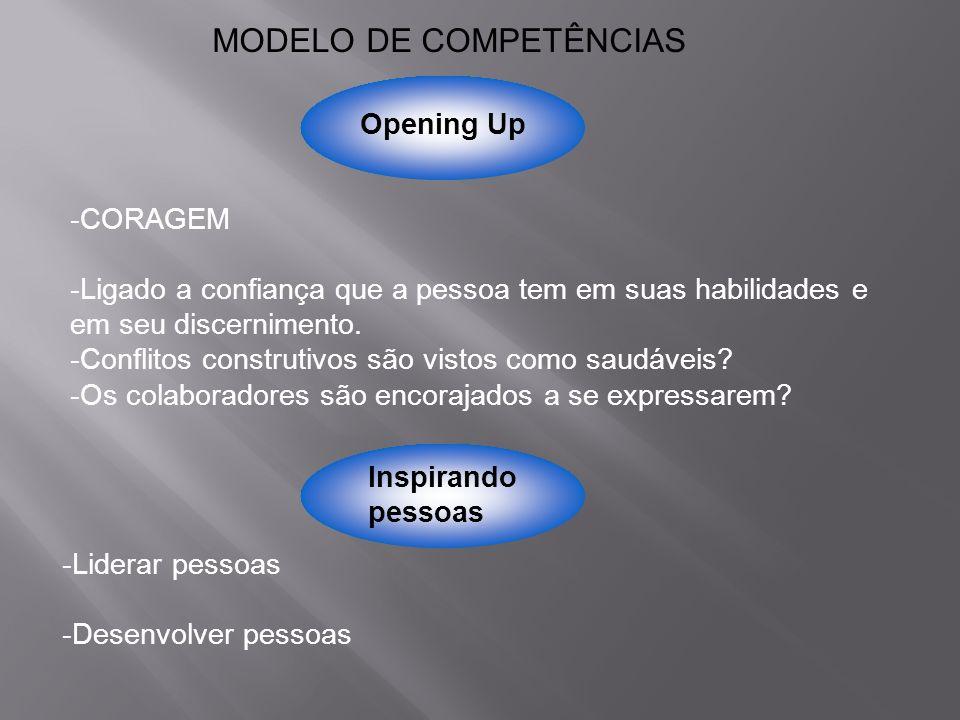 Opening Up MODELO DE COMPETÊNCIAS -CORAGEM -Ligado a confiança que a pessoa tem em suas habilidades e em seu discernimento. -Conflitos construtivos sã