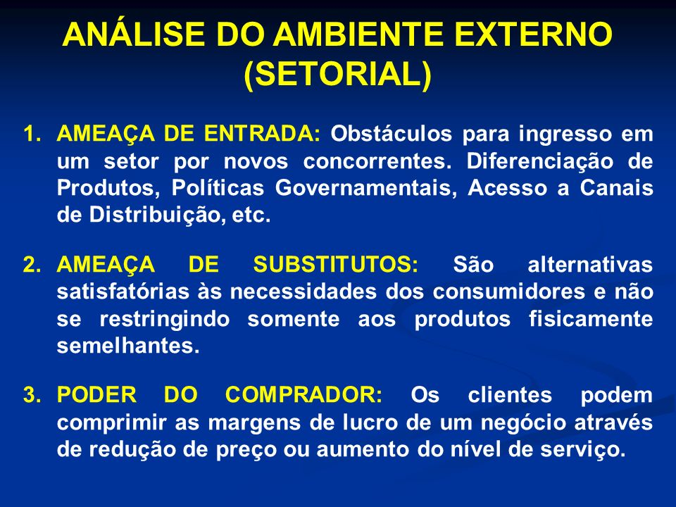 ANÁLISE DO AMBIENTE EXTERNO (SETORIAL) 1.AMEAÇA DE ENTRADA: Obstáculos para ingresso em um setor por novos concorrentes. Diferenciação de Produtos, Po