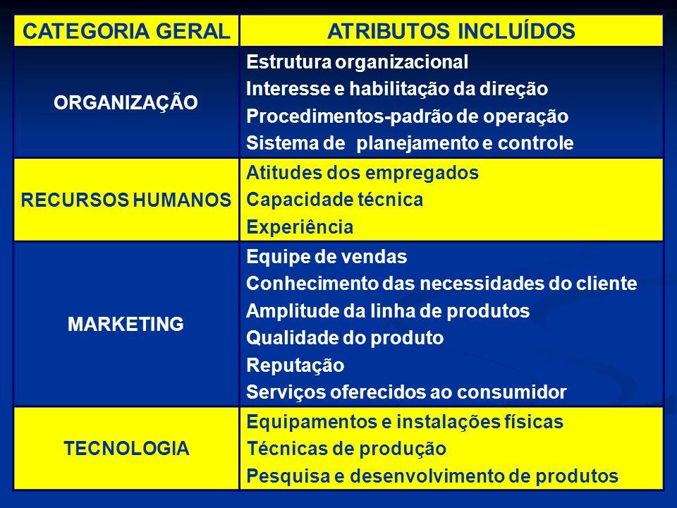 CATEGORIA GERALATRIBUTOS INCLUÍDOS ORGANIZAÇÃO Estrutura organizacional Interesse e habilitação da direção Procedimentos-padrão de operação Sistema de