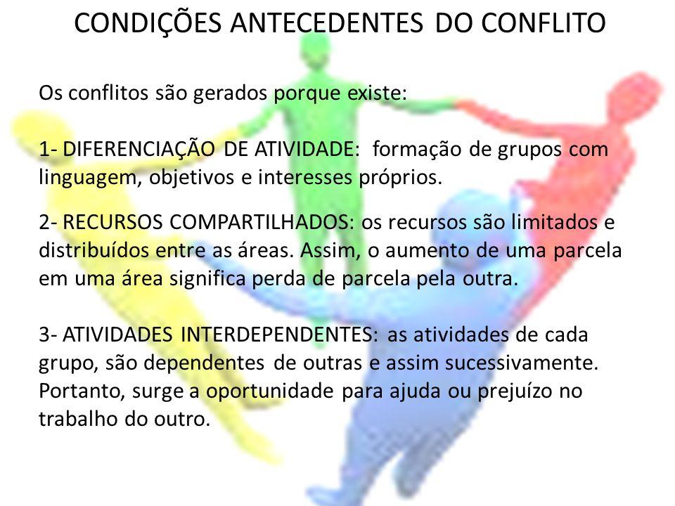 CONDIÇÕES ANTECEDENTES DO CONFLITO Os conflitos são gerados porque existe: 1- DIFERENCIAÇÃO DE ATIVIDADE: formação de grupos com linguagem, objetivos