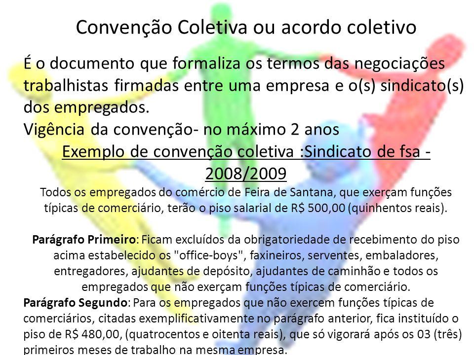 Convenção Coletiva ou acordo coletivo É o documento que formaliza os termos das negociações trabalhistas firmadas entre uma empresa e o(s) sindicato(s
