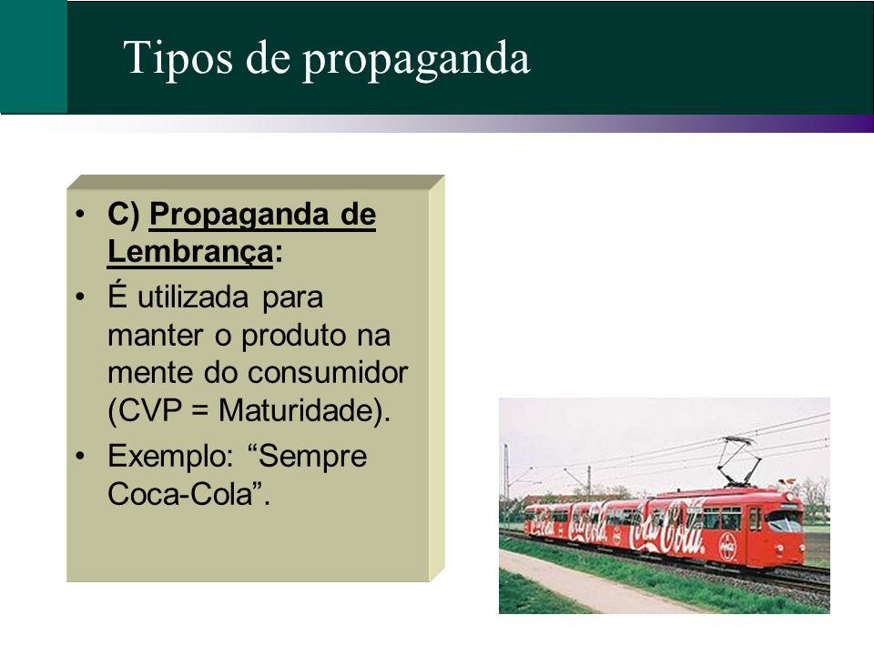 Tipos de propaganda C) Propaganda de Lembrança: É utilizada para manter o produto na mente do consumidor (CVP = Maturidade). Exemplo: Sempre Coca-Cola