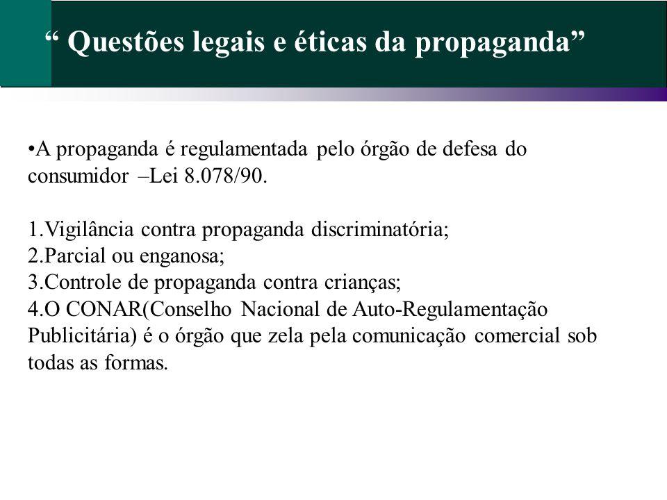 Questões legais e éticas da propaganda A propaganda é regulamentada pelo órgão de defesa do consumidor –Lei 8.078/90. 1.Vigilância contra propaganda d