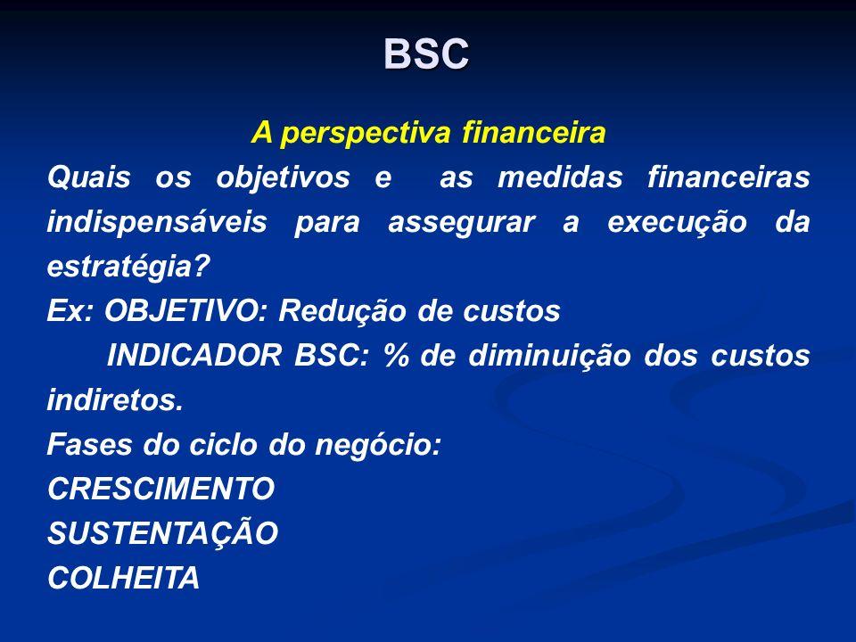 BSC A perspectiva financeira Quais os objetivos e as medidas financeiras indispensáveis para assegurar a execução da estratégia? Ex: OBJETIVO: Redução