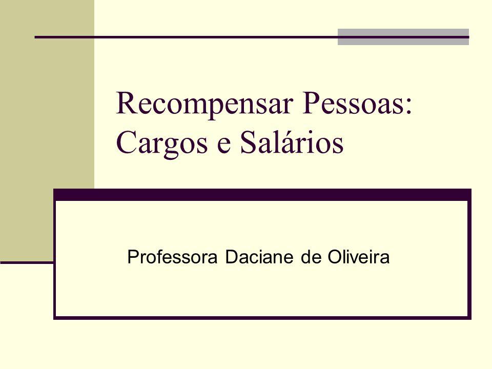 Recompensar Pessoas: Cargos e Salários Professora Daciane de Oliveira