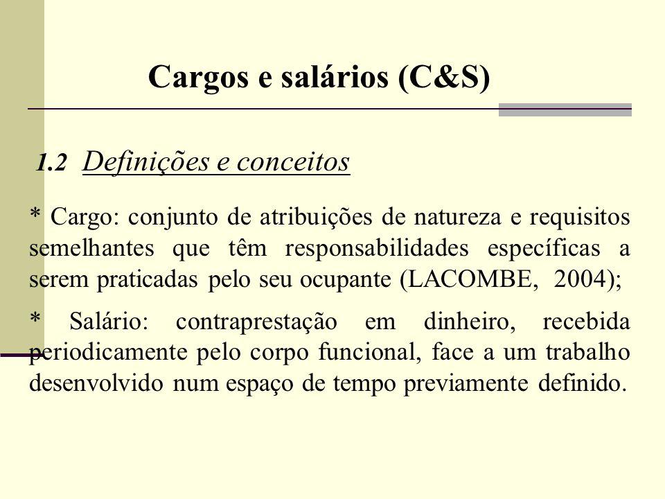 Cargos e salários (C&S) 1.2 Definições e conceitos * Cargo: conjunto de atribuições de natureza e requisitos semelhantes que têm responsabilidades esp